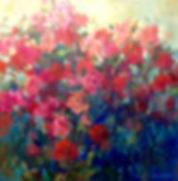 red pink roses garden oil painting
