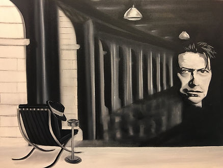 David Bowie black and white oil painting