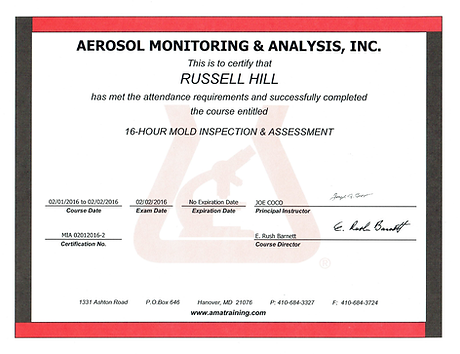AMA mold inspection certification