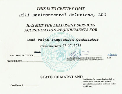 Hill Environemental Solutions Lead Contractor Certificate