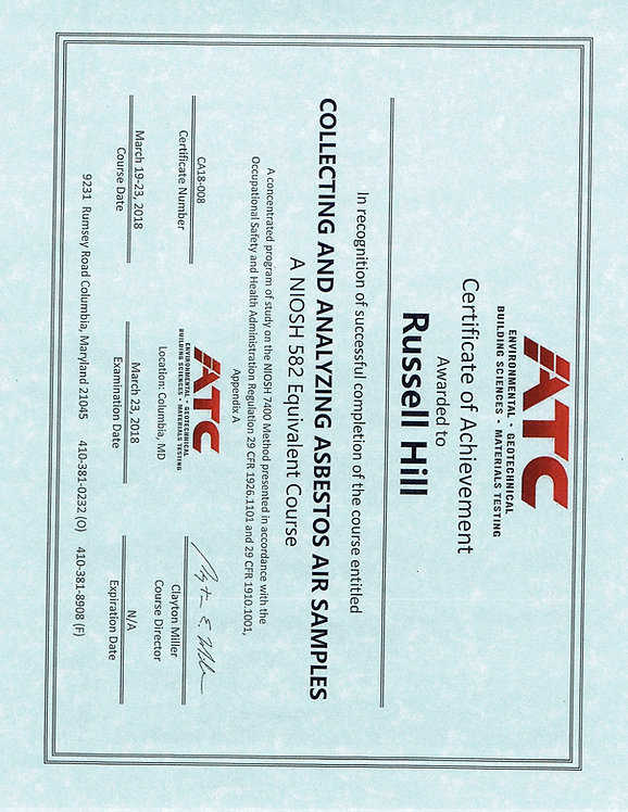 Asbestos Air Sampling Certification