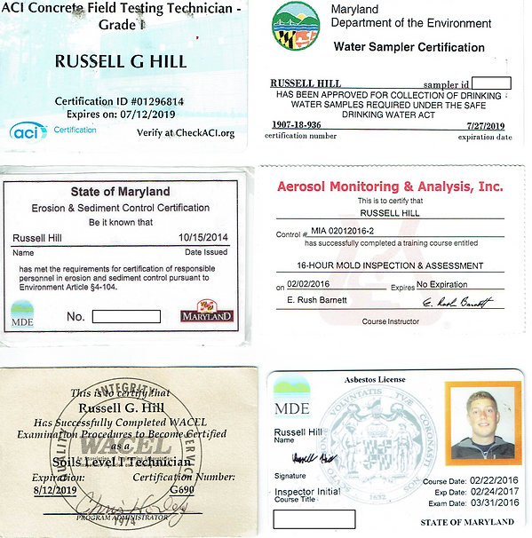ACI concrete certification, Asbestos license, Mold Inspector certification, Drinking water certification, WACEL soil certification, erosion and sediment license