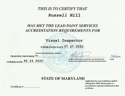 Lead Visual Inspector Certificate
