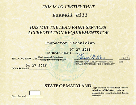 MDE lead inspector technician license