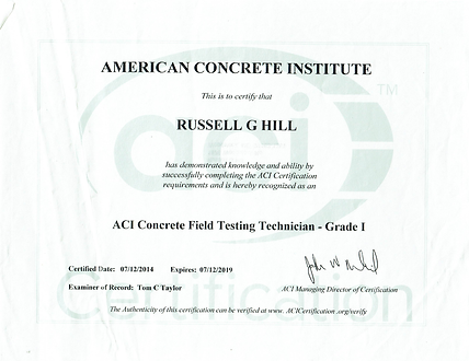 ACI concrete field technician certification