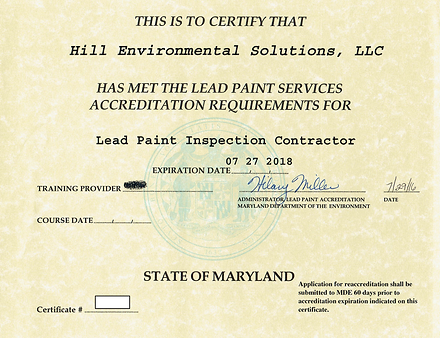 MDE lead paint inspector contractor license