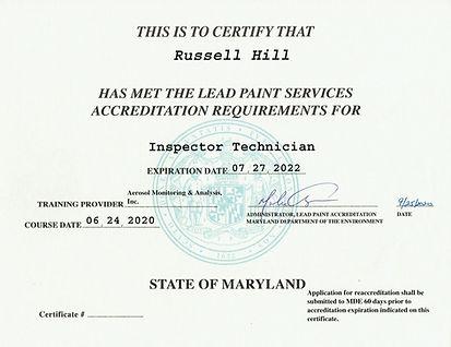 Lead Inspector Technician Certificate