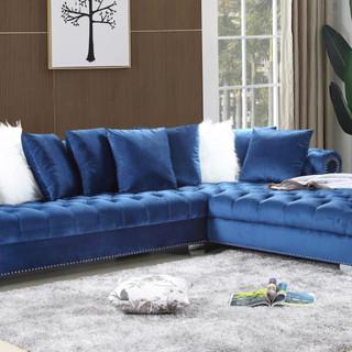 Navy Blue Velvet Sectional Sofa Group