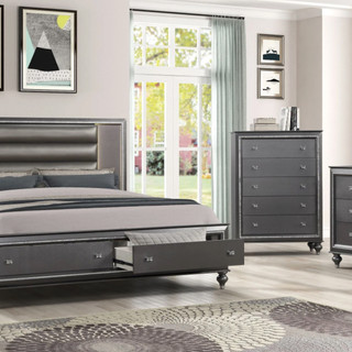 Gray LED Bedroom with Footboard Drawers