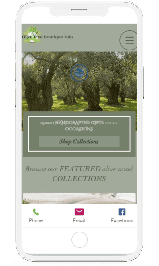 Olivetree boutique Tolo on mobile