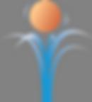 Logo Orangefarbiger Ball hüpft auf Wasserstrahlen