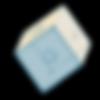 Logo Basisplan - Transparenter Würfel mit Symbiolen,, auf einer Kante stehend