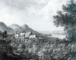 Kommende mit Kapelle Kreidelithografie Christian Hohe um 1832