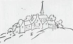 Federzeichnung der Kommende mit Kapelle_