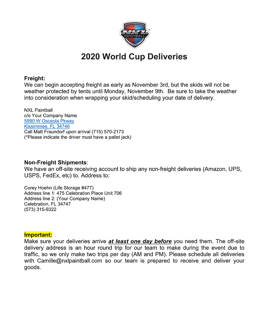 Delivery WC2020