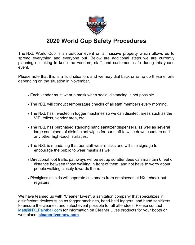 Safety Procedures World Cup 2020