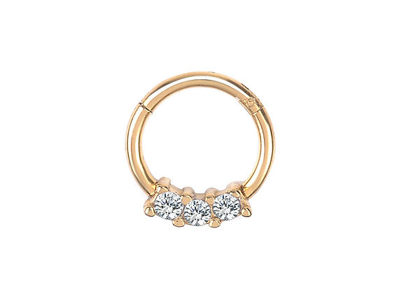 Rose Gold Triple Jewelled Hinged Segment Ring - Surgical Steel