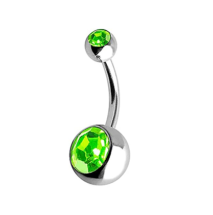 Peridot Double or Single Jewelled Belly Bars - Surgical Steel