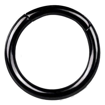 Black Hinged Segment Ring - Surgical Steel
