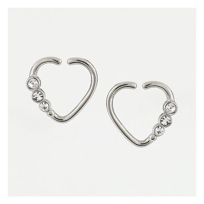 1.2mm Jewelled Silver Heart - Surgical Steel
