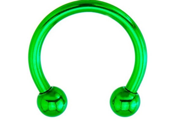 Green Horseshoes - Surgical Steel