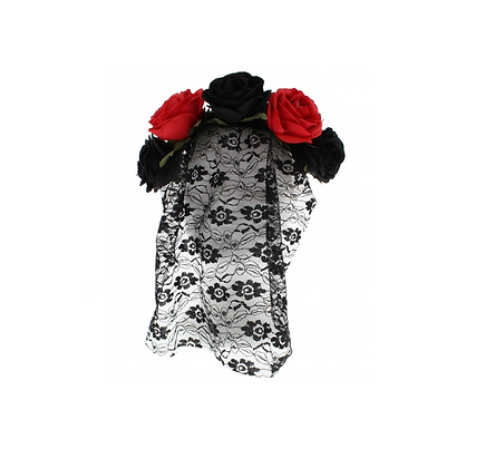 Black & Red Rose Headband with Flower Patterned Lace Veil