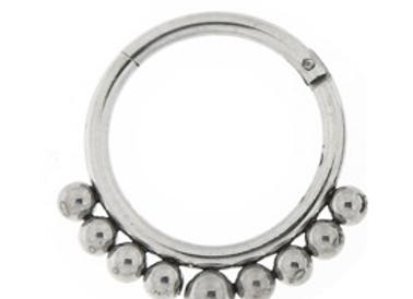 Silver Tribal Paved Balls Hinged Segment- Surgical Steel