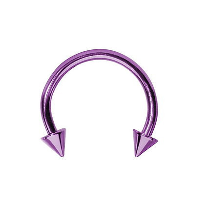 Purple Spiked Horseshoes - Surgical Steel