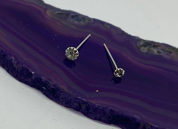 Clear Crystal 0.8mm Sterling Silver Studs