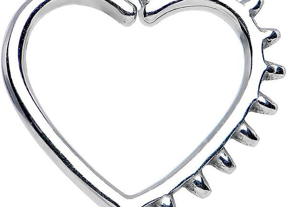 1.2mm Spike Silver Heart - Surgical Steel