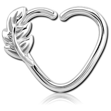 1.2mm Leaf Silver Heart - Surgical Steel
