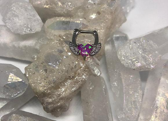 Purple Synthetic Opal Heart Septum Clicker 1.2MM+1.6MM