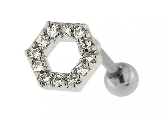 Silver Jeweled Hexagon Labret/Barbell - 1.2mm