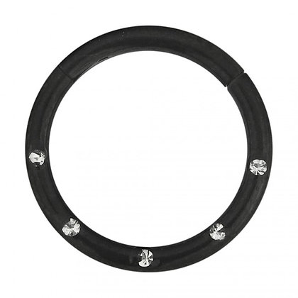 Black Jewelled Hinged Segment Ring - Surgical Steel