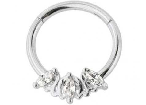 Silver Triple Marquise CZ Stone Hinged Segment Ring - Surgical Steel