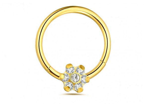 Gold Flower Hinged Segment- Surgical Steel