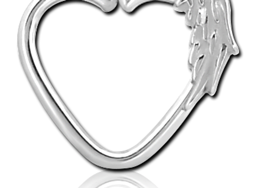 1.2mm Feather Silver Heart - Surgical Steel