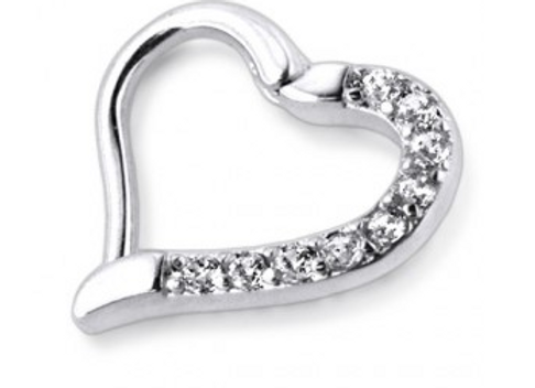 Silver Hinged Jeweled Heart Ring - Surgical Steel