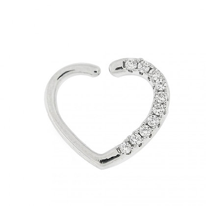 1.2mm Jeweled Heart Closure Ring - Surgical Steel