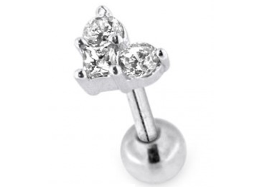 Silver 3 Stone Jewelled Labret/Barbell- 1.2mmX6mm