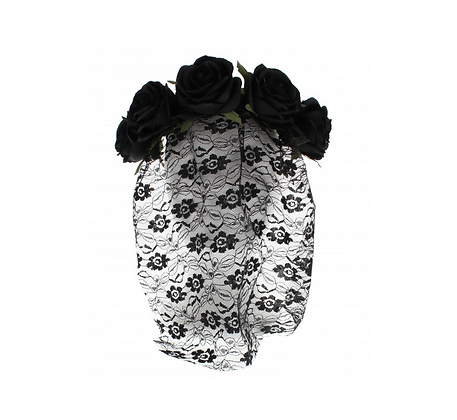 Black Rose Headband with Flower Patterned Lace Veil