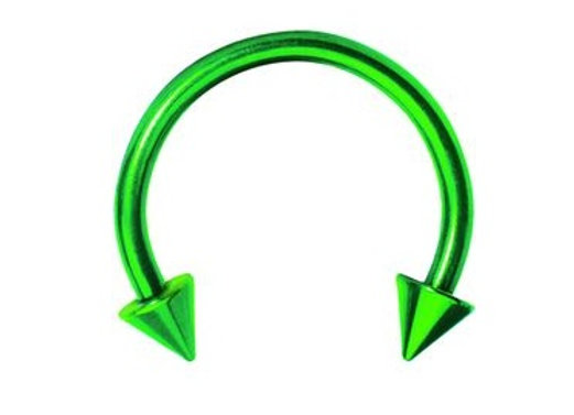 Green Spiked Horseshoes - Surgical Steel