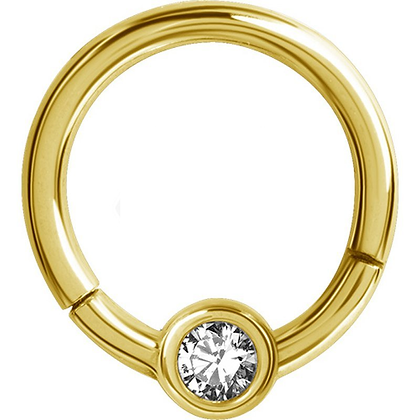 Gold Jewelled Hinged Segment Ring with Ball - Surgical Steel