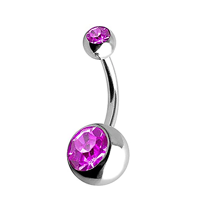 Fuchsia Double or Single Jewelled Belly Bars - Surgical Steel