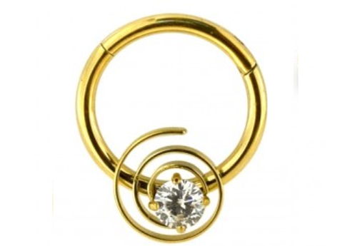Gold CZ Jeweled Swirl Segment Ring - Surgical Steel