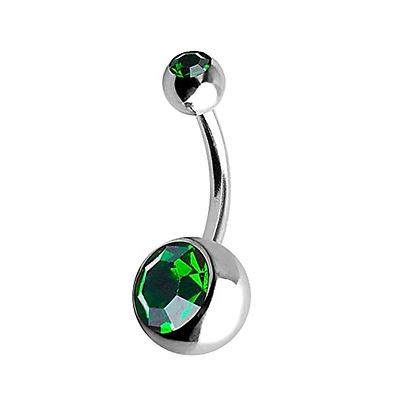 Emerald Double or Single Jewelled Belly Bars - Surgical Steel