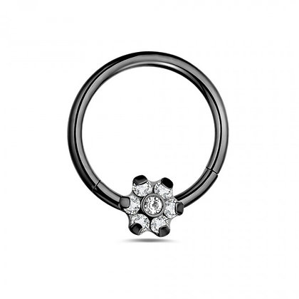 Black Flower Hinged Segment- Surgical Steel