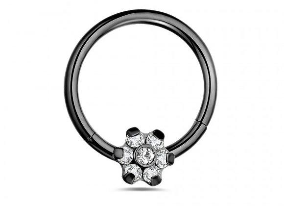 Black Flower Hinged Segment- Surgical Steel