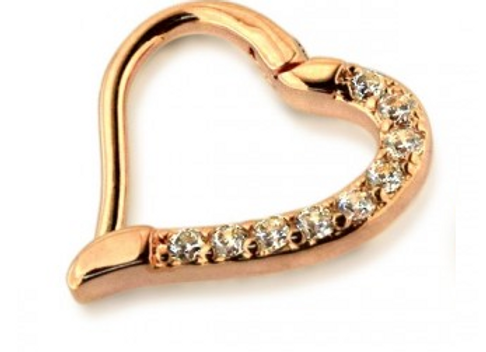 Rose Gold Hinged Jeweled Heart Ring - Surgical Steel