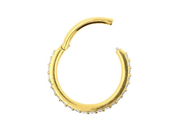 Gold Swarovski Gems Hinged Segment Ring - Surgical Steel